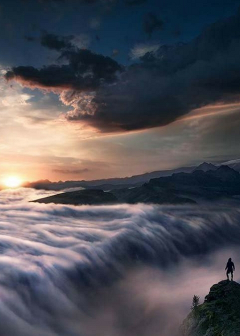 rolling mist mountain top