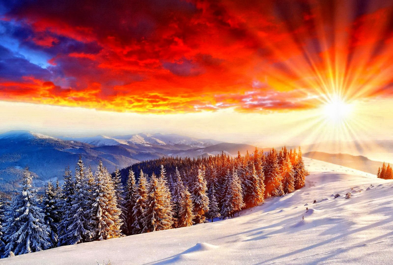 Winter Scenery Light Sunlight Shine Red Sun Amazing Slope Orange Dazzling Mountain Sunrise Sunset Sky Nice Nature Scene Trees Bright Beautiful Lovely Snow Rays Sundown Clouds Pretty View Image Gallery